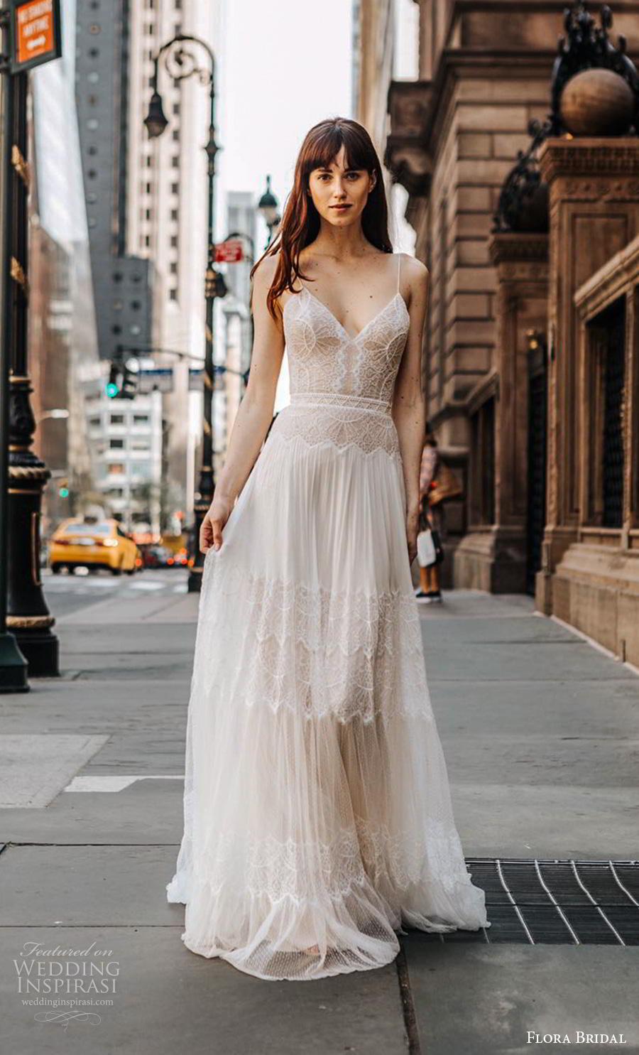 flora bridal 2019 bridal sleeveless spaghetti strap diamond neck heavily embellished bodice romantic bohemian soft a  line wedding dress backless low back sweep train (1) mv