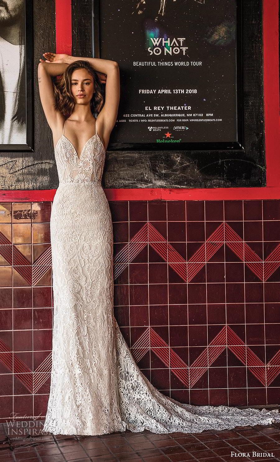 flora bridal 2019 bridal sleeveless spaghetti strap diamond neckline full embellishment sexy elegant sheath wedding dress backless scoop back chapel train (11) mv