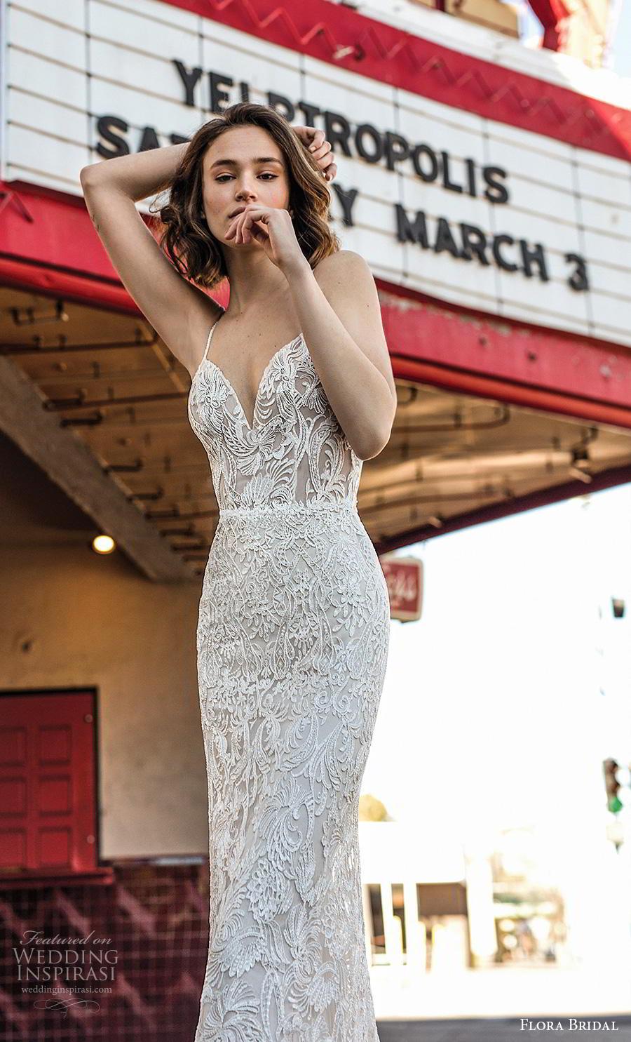flora bridal 2019 bridal sleeveless spaghetti strap diamond neckline full embellishment sexy elegant sheath wedding dress backless scoop back chapel train (11) zv