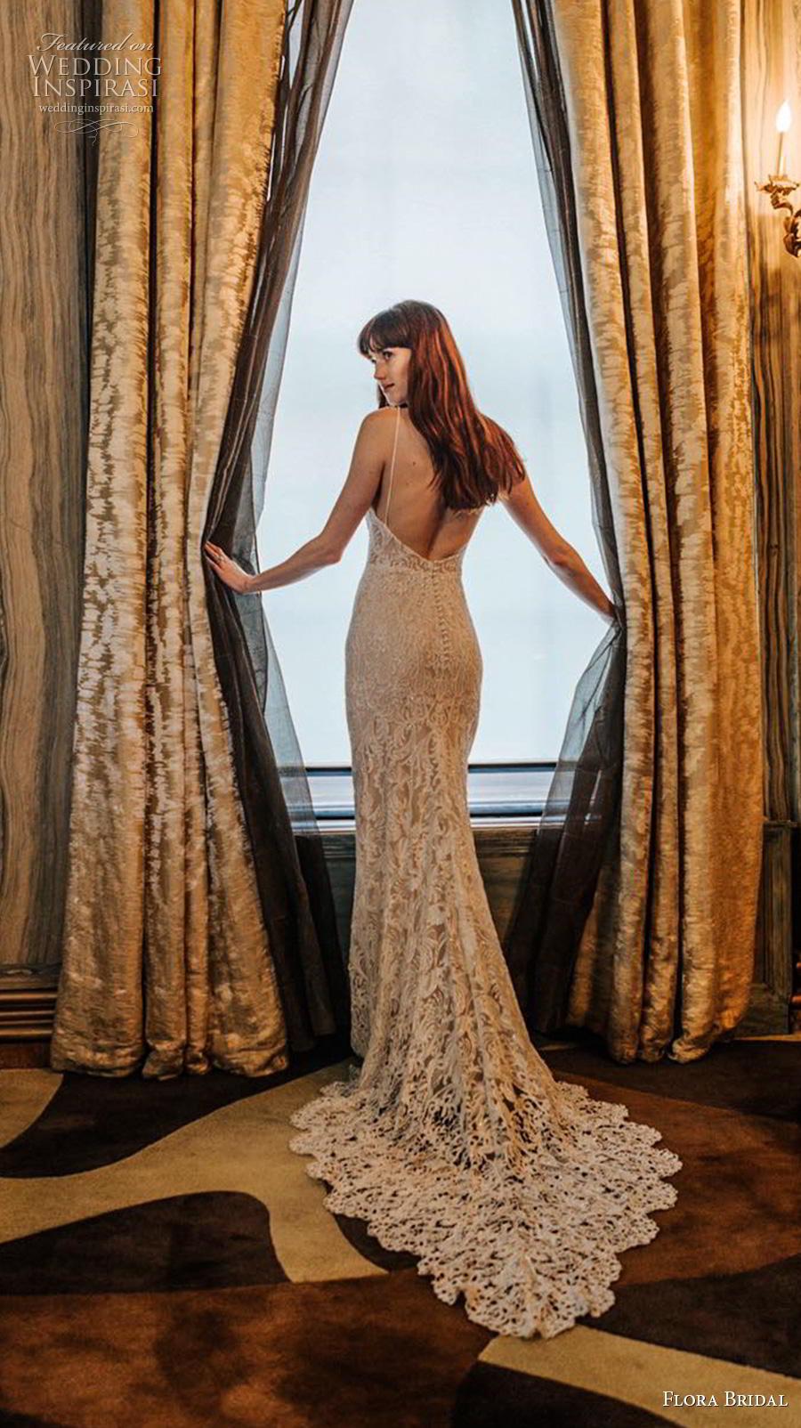 flora bridal 2019 bridal sleeveless spaghetti strap sweetheart neckline full embellishment elegant sexy sheath wedding dress backless medium train (8) bv