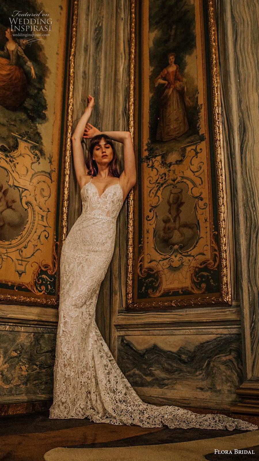 flora bridal 2019 bridal sleeveless spaghetti strap sweetheart neckline full embellishment elegant sexy sheath wedding dress backless medium train (8) mv
