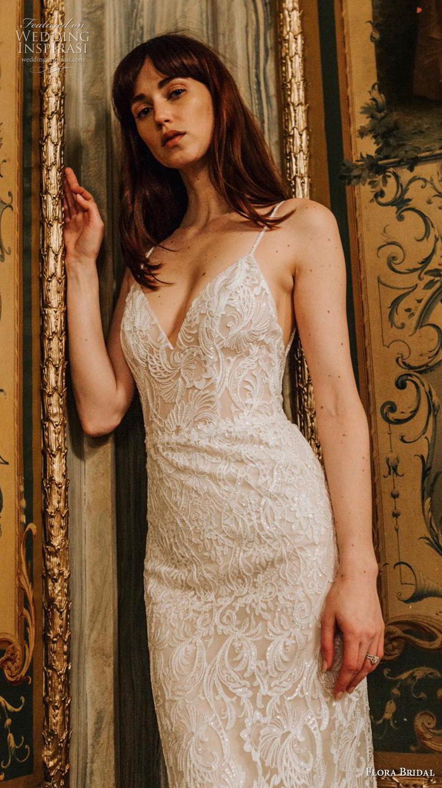 flora bridal 2019 bridal sleeveless spaghetti strap sweetheart neckline full embellishment elegant sexy sheath wedding dress backless medium train (8) zv