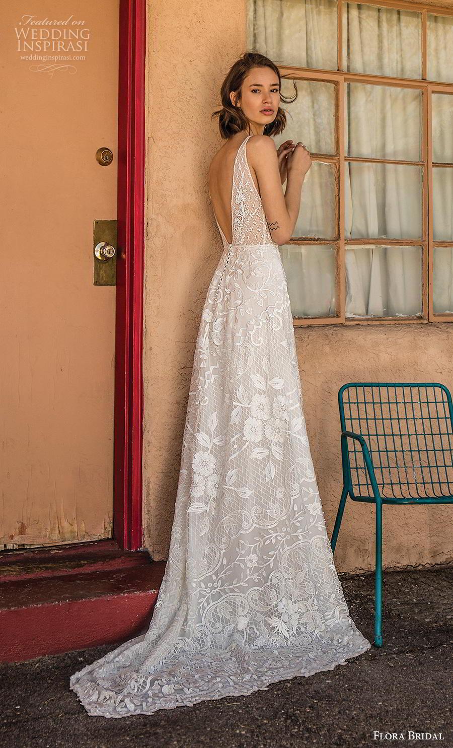 flora bridal 2019 bridal sleeveless v neck full embellishment romantic bohemian modified a  line wedding dress backless v back sweep train (2) bv