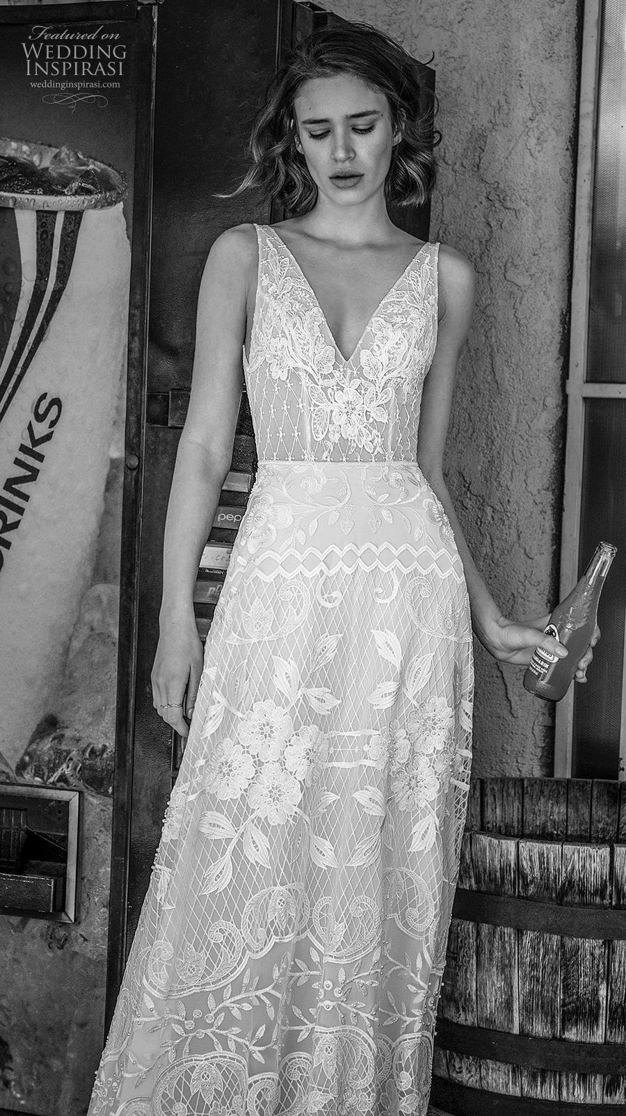 flora bridal 2019 bridal sleeveless v neck full embellishment romantic bohemian modified a  line wedding dress backless v back sweep train (2) mv