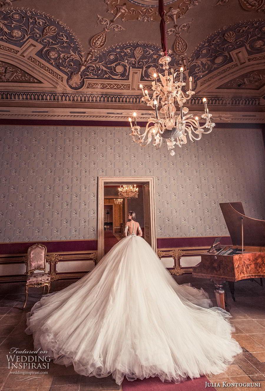julia kontogruni 2019 bridal half sleeves sweetheart neckline heavily embellished bodice princess romantic ball gown a  line wedding dress sheer button back royal train (1) bv