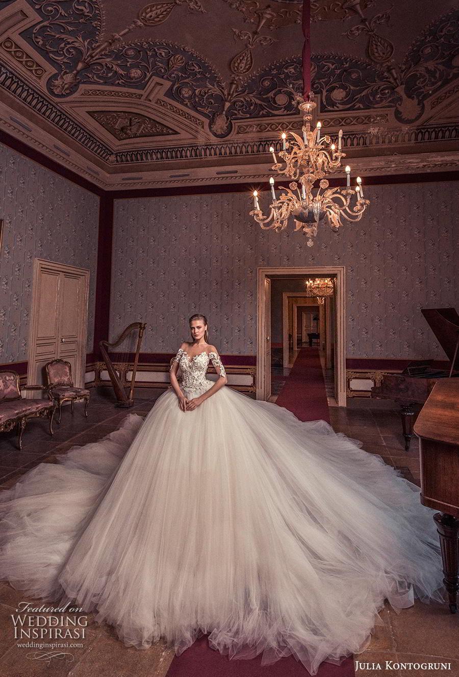 julia kontogruni 2019 bridal half sleeves sweetheart neckline heavily embellished bodice princess romantic ball gown a  line wedding dress sheer button back royal train (1) mv