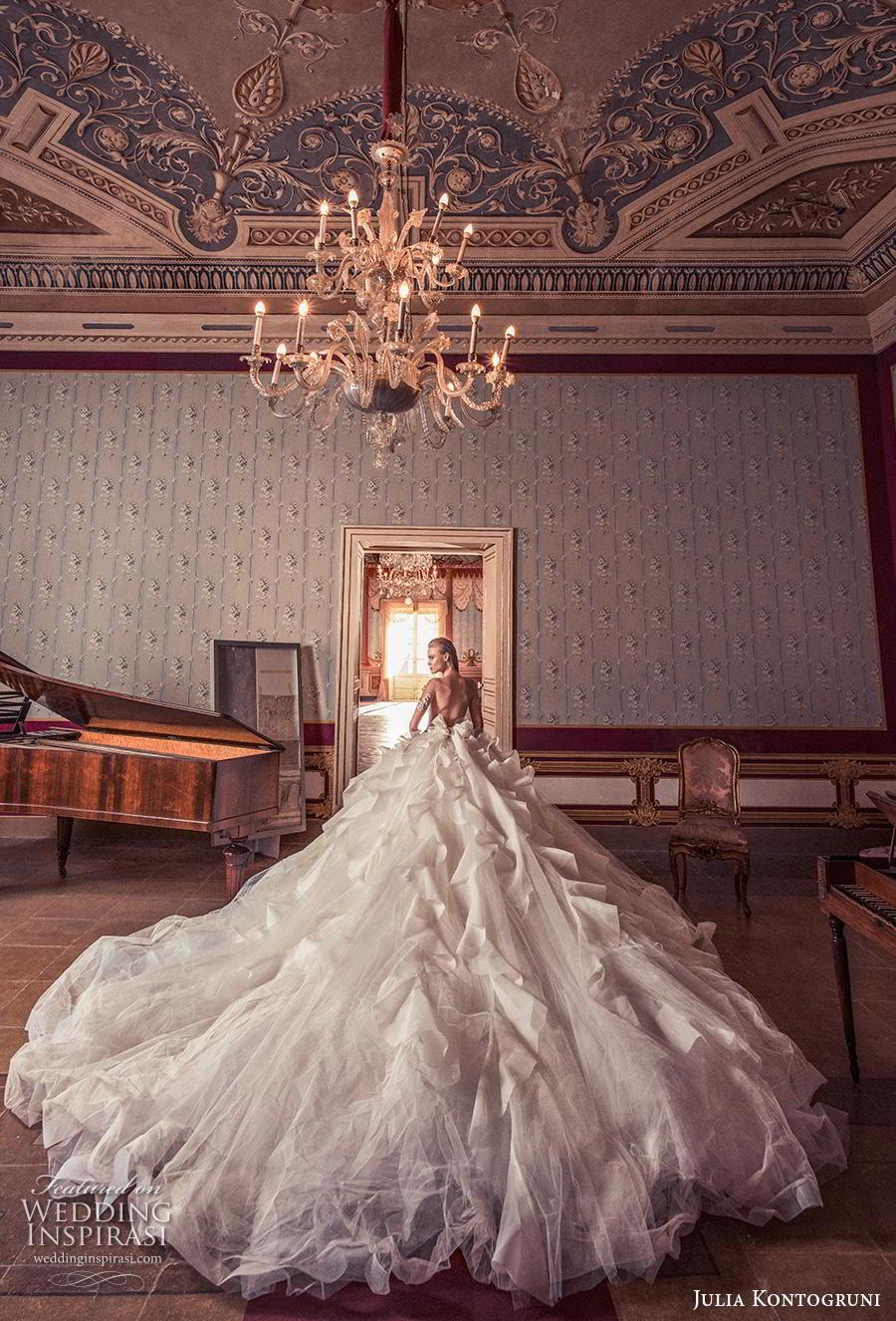julia kontogruni 2019 bridal half sleeves v neck heavily embellished bodice ruffled skirt princess ball gown a  line wedding dress backless royal train (2) bv