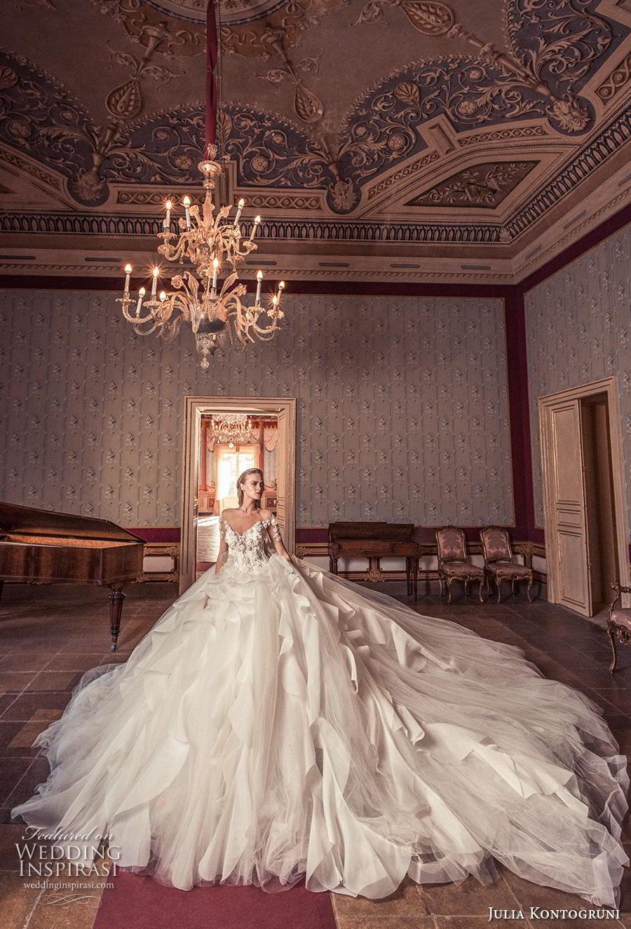 julia kontogruni 2019 bridal half sleeves v neck heavily embellished bodice ruffled skirt princess ball gown a  line wedding dress backless royal train (2) mv