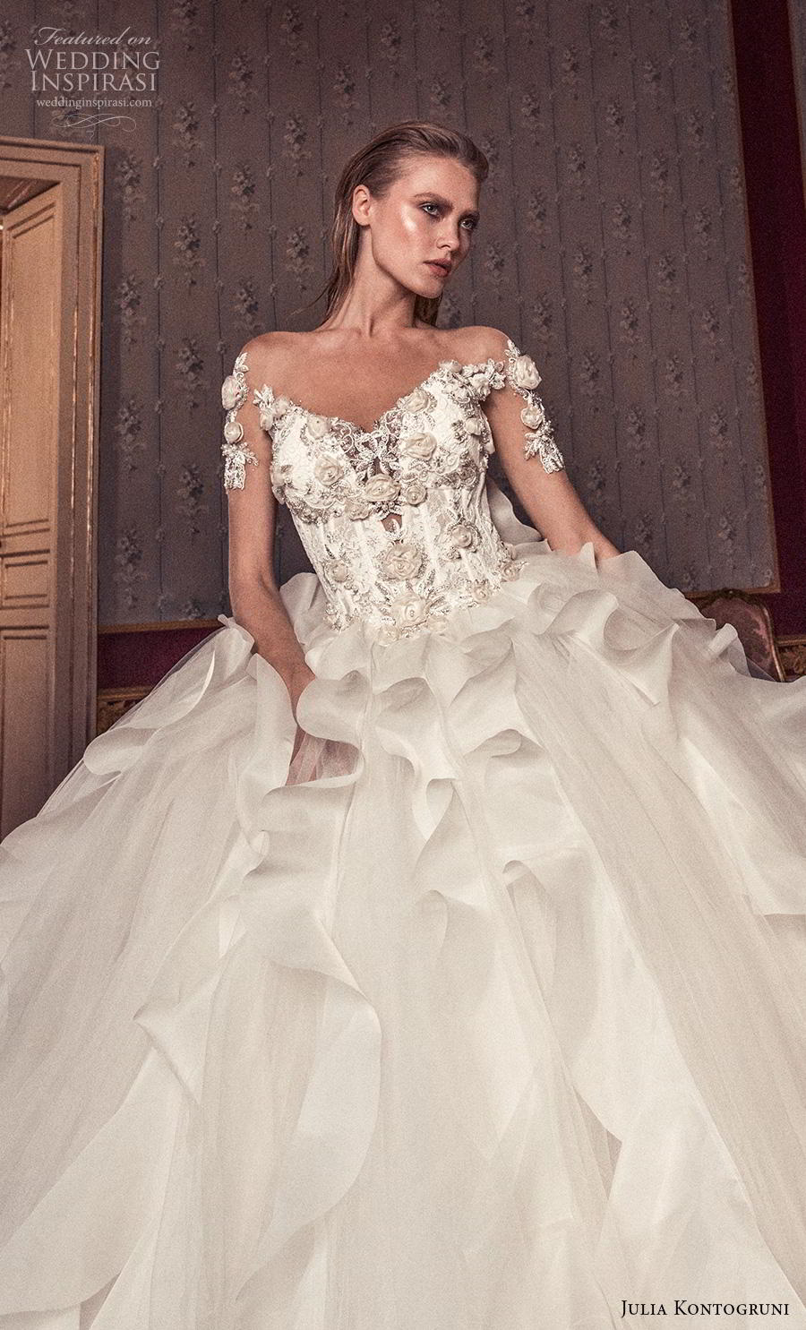 julia kontogruni 2019 bridal half sleeves v neck heavily embellished bodice ruffled skirt princess ball gown a  line wedding dress backless royal train (2) zv