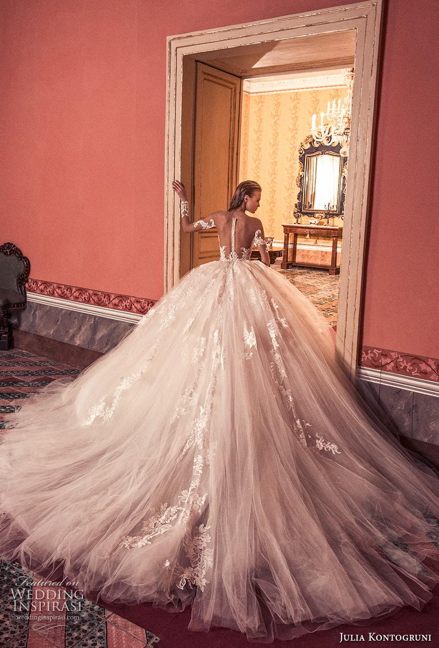 julia kontogruni 2019 bridal long sleeves deep sweetheart neckline heavily embellished bodice ball gown a  line wedding dress sheer button back royal train (8) bv
