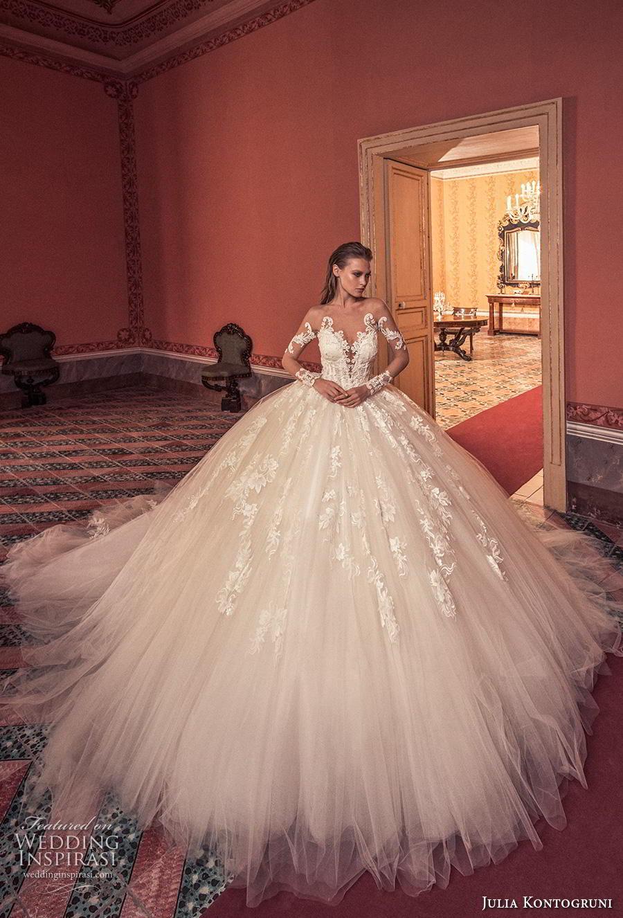 julia kontogruni 2019 bridal long sleeves deep sweetheart neckline heavily embellished bodice ball gown a  line wedding dress sheer button back royal train (8) mv