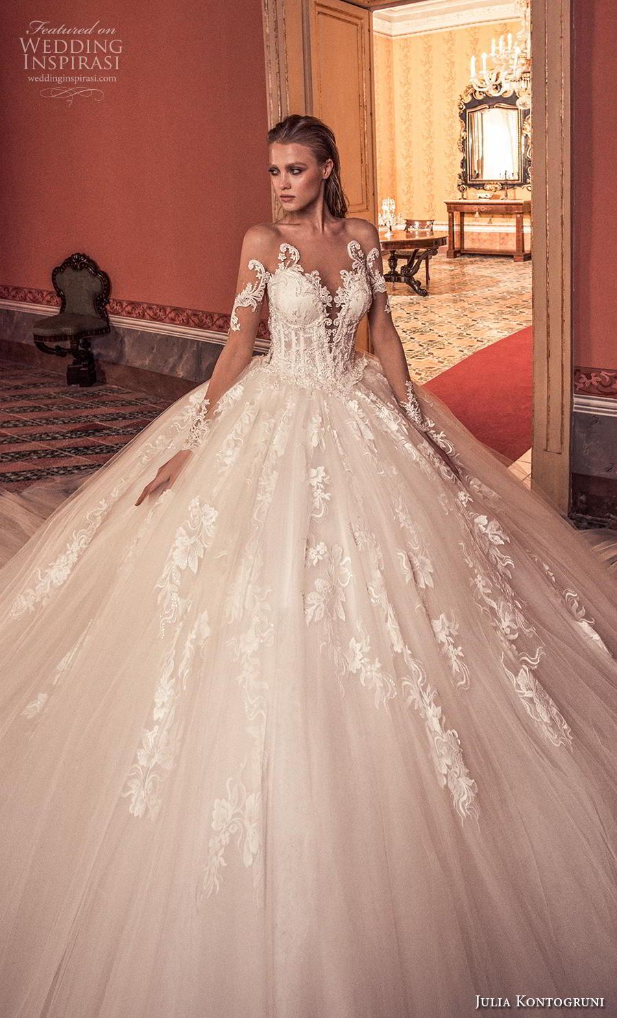 julia kontogruni 2019 bridal long sleeves deep sweetheart neckline heavily embellished bodice ball gown a  line wedding dress sheer button back royal train (8) zv