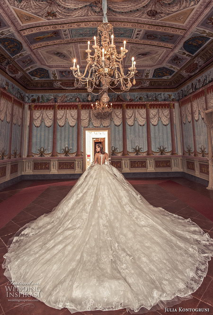 julia kontogruni 2019 bridal long sleeves sweetheart neckline heavily embellished bodice ball gown a  line wedding dress sheer button back royal train (9) bv