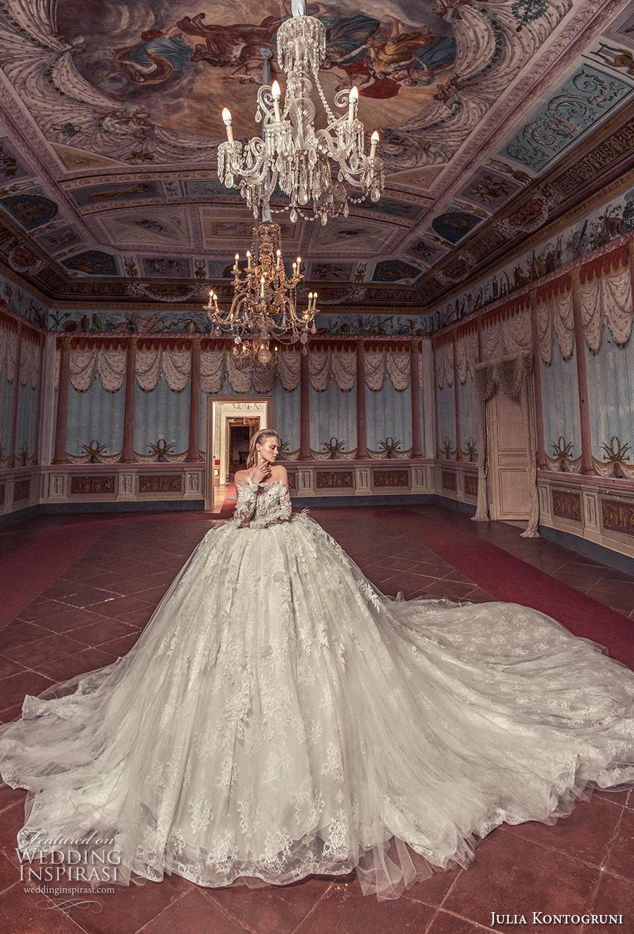 julia kontogruni 2019 bridal long sleeves sweetheart neckline heavily embellished bodice ball gown a  line wedding dress sheer button back royal train (9) mv