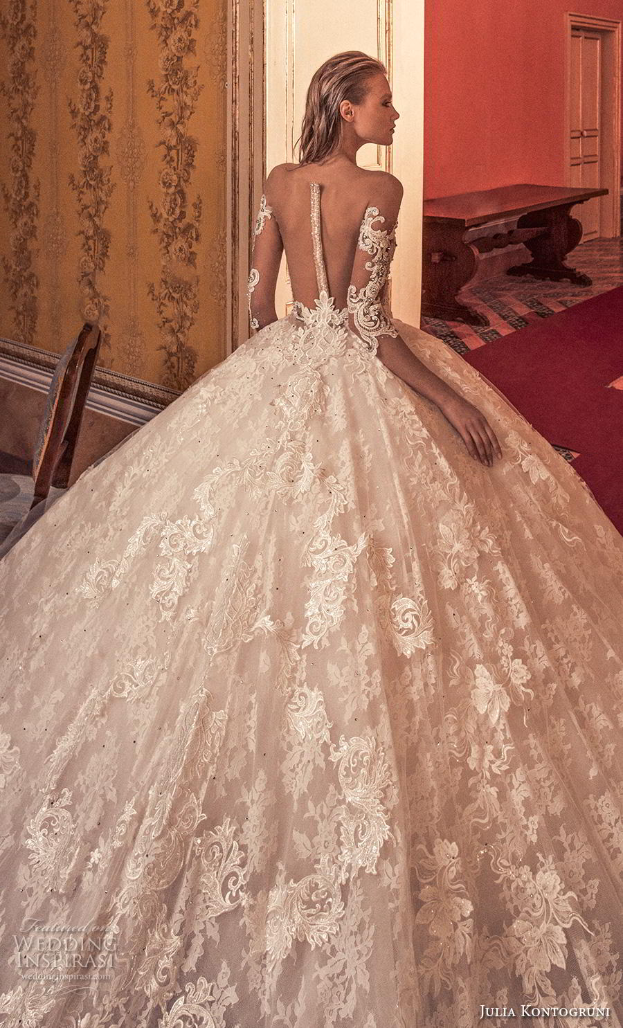 julia kontogruni 2019 bridal long sleeves sweetheart neckline heavily embellished bodice ball gown a  line wedding dress sheer button back royal train (9) zbv