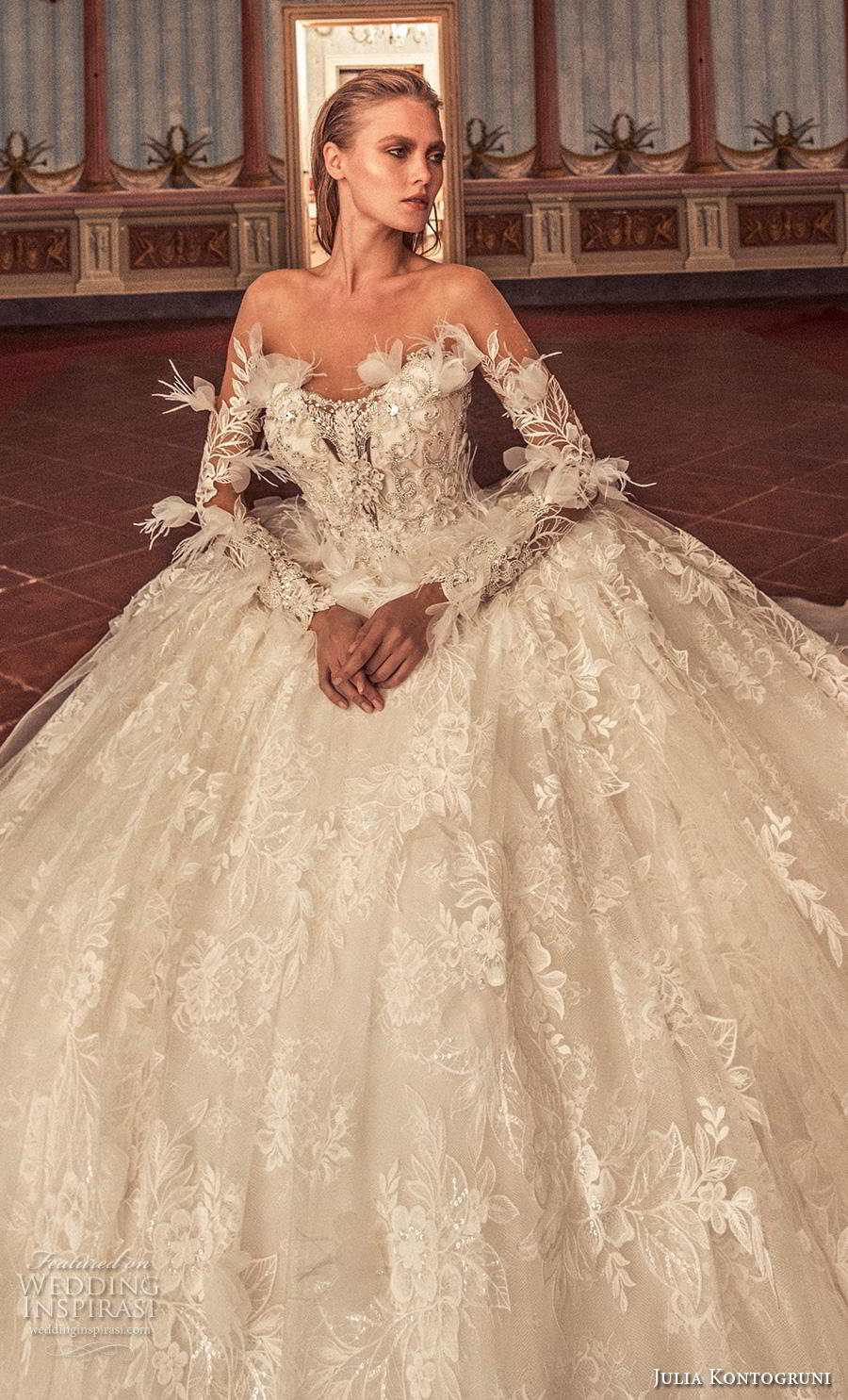 julia kontogruni 2019 bridal long sleeves sweetheart neckline heavily embellished bodice ball gown a  line wedding dress sheer button back royal train (9) zv