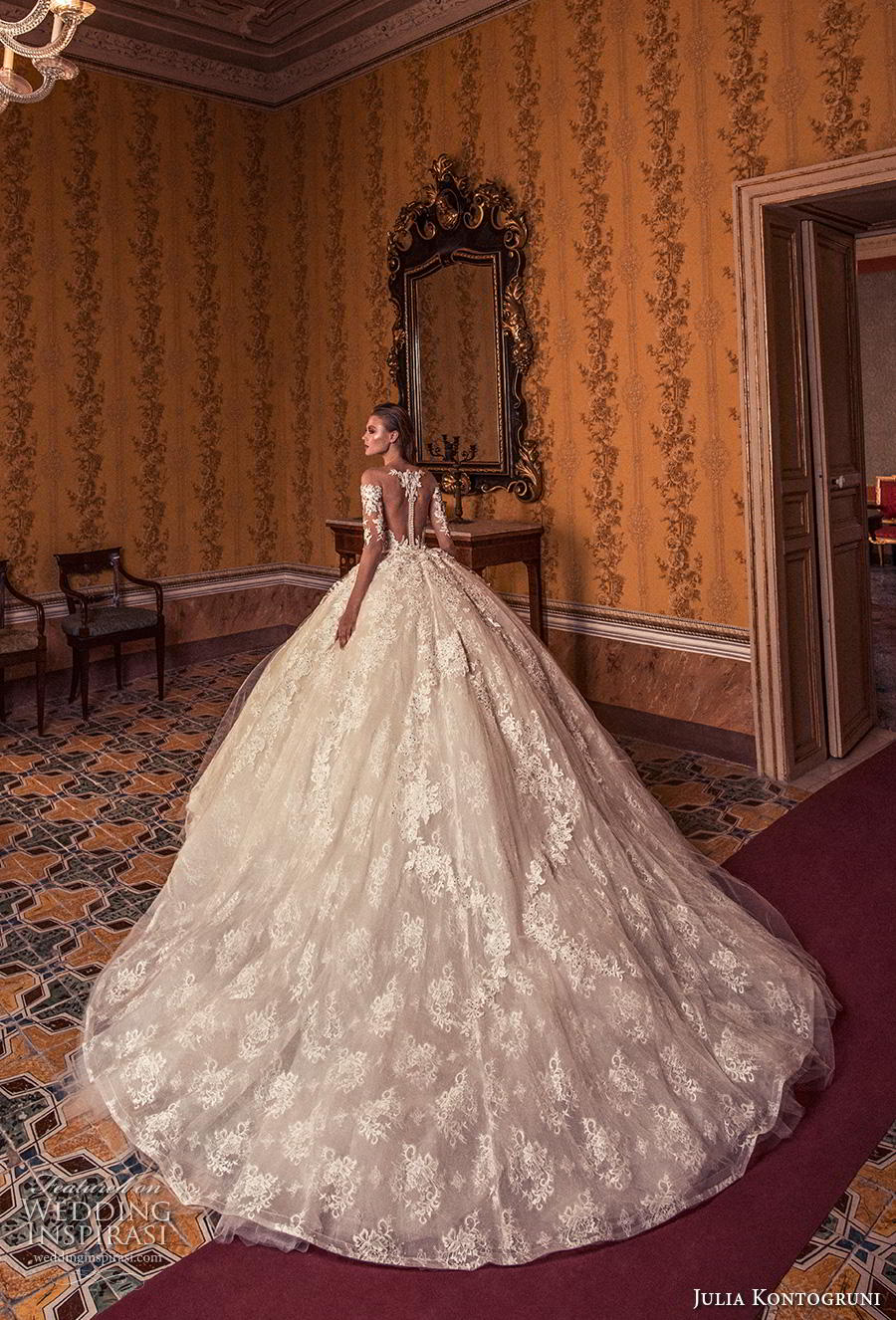 julia kontogruni 2019 bridal off the shoulder half sleeves sweetheart neckline full embellishment princess ball gown a  line wedding dress sheer button back royal train (6) bv