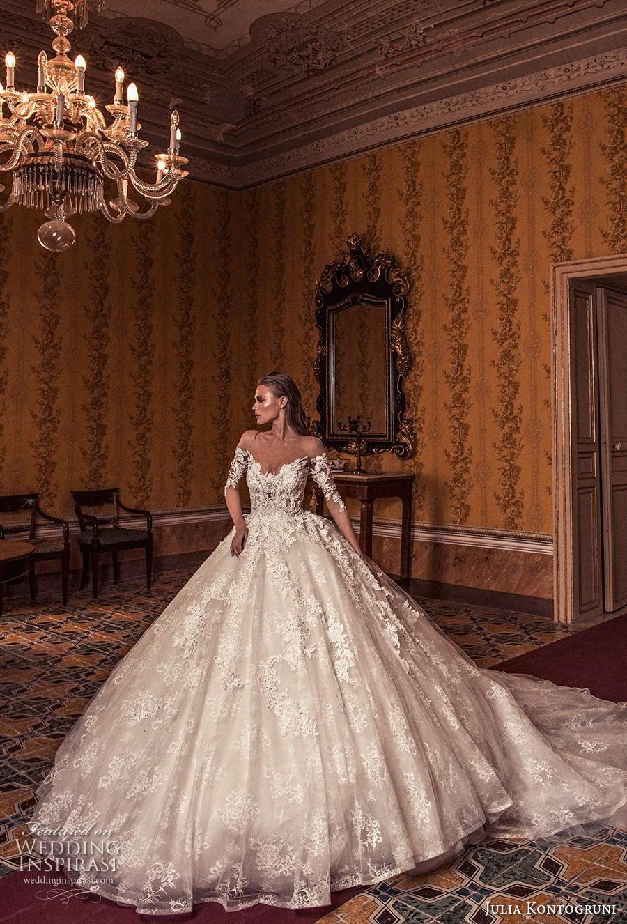 julia kontogruni 2019 bridal off the shoulder half sleeves sweetheart neckline full embellishment princess ball gown a  line wedding dress sheer button back royal train (6) mv