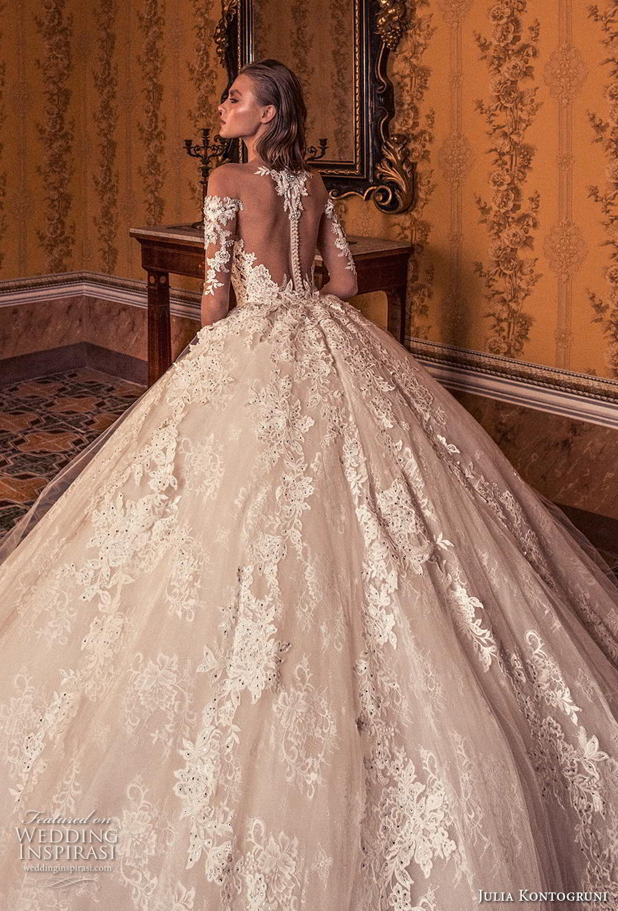 julia kontogruni 2019 bridal off the shoulder half sleeves sweetheart neckline full embellishment princess ball gown a  line wedding dress sheer button back royal train (6) zbv