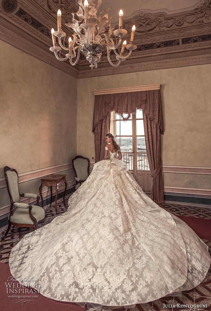 julia kontogruni 2019 bridal off the shoulder sweetheart neckline full embellishment layered skirt princess ball gown a  line wedding dress mid back royal train (10) bv