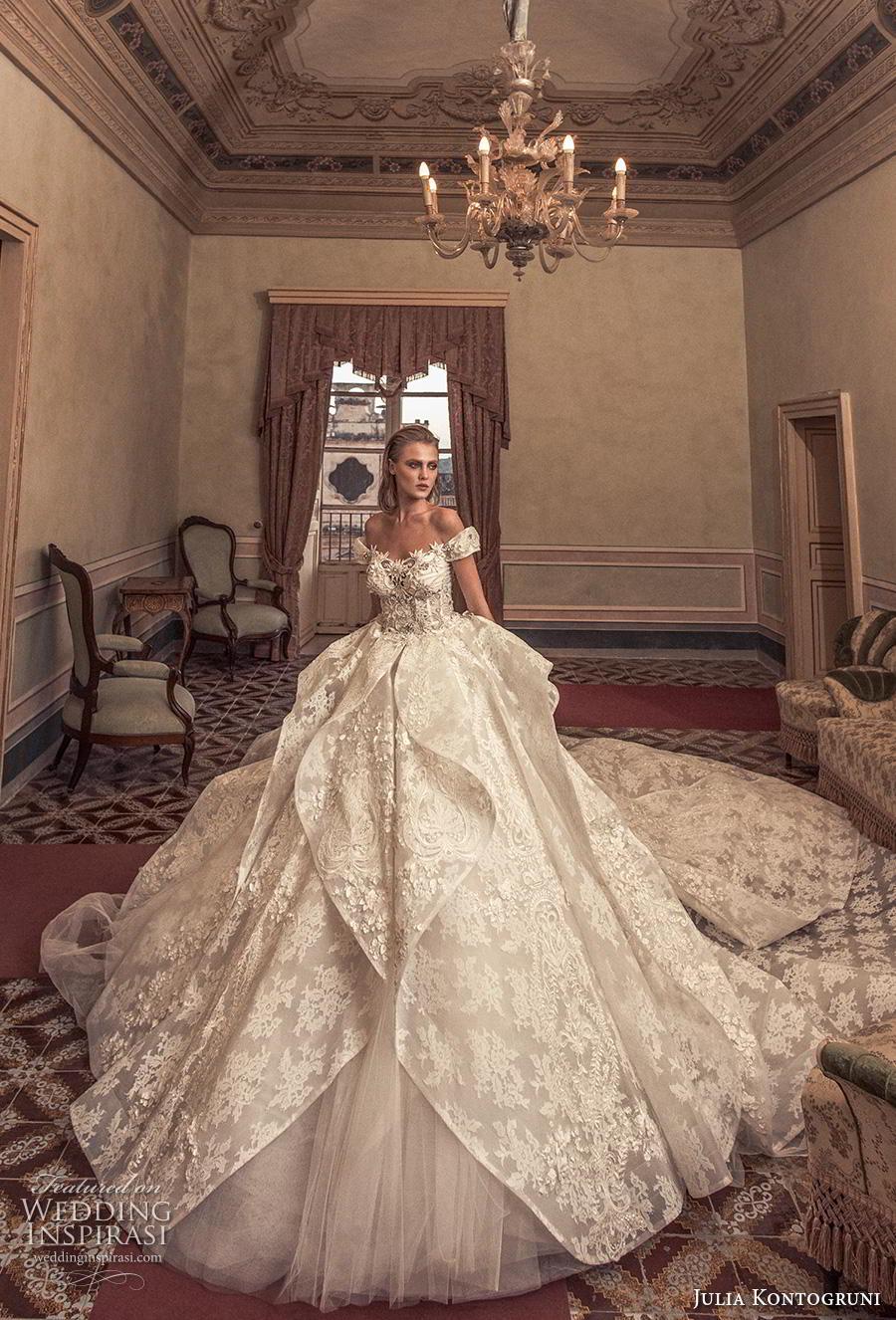 julia kontogruni 2019 bridal off the shoulder sweetheart neckline full embellishment layered skirt princess ball gown a  line wedding dress mid back royal train (10) mv