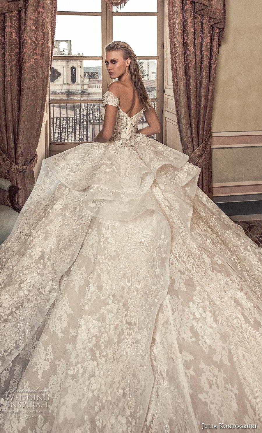 julia kontogruni 2019 bridal off the shoulder sweetheart neckline full embellishment layered skirt princess ball gown a  line wedding dress mid back royal train (10) zbv