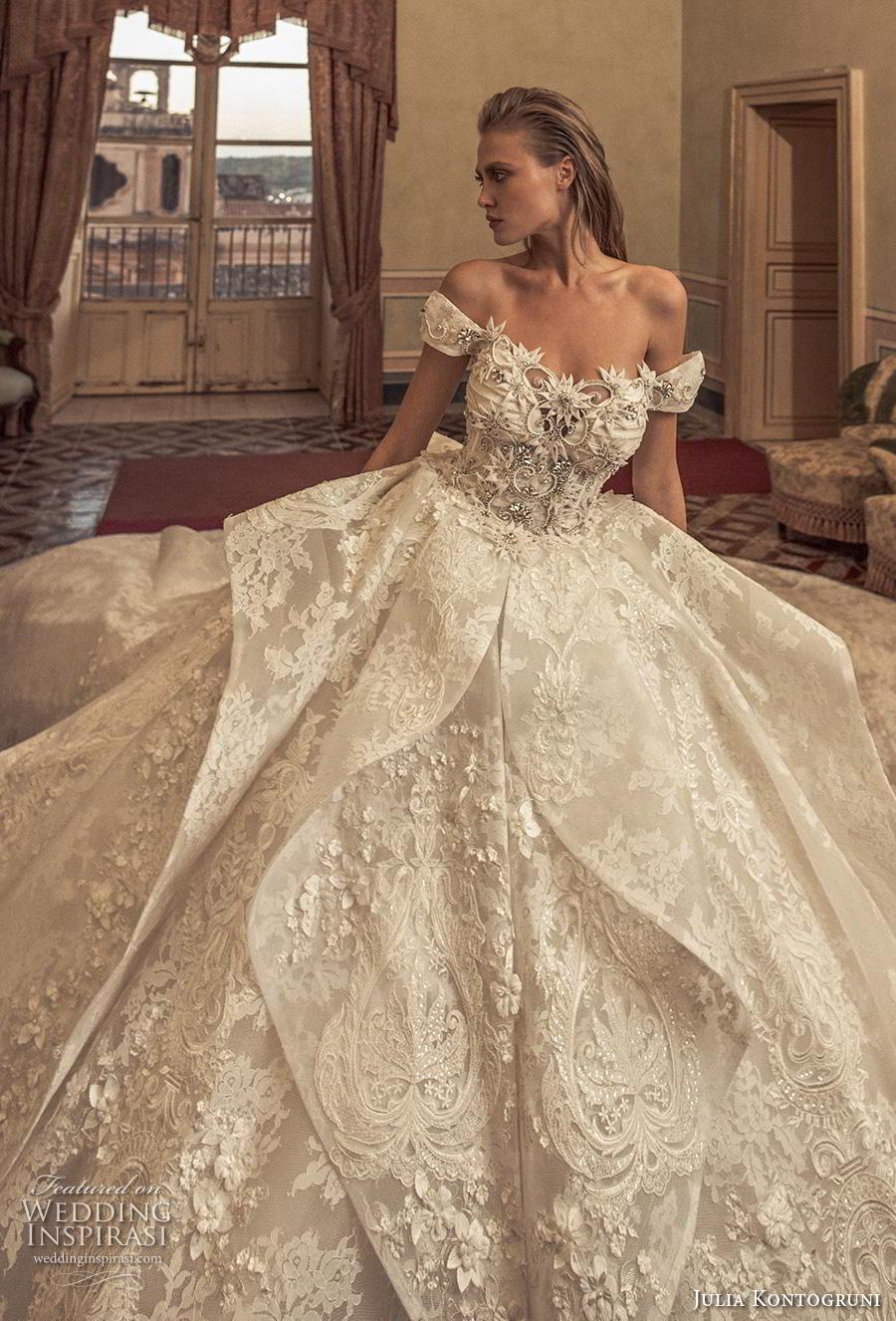 julia kontogruni 2019 bridal off the shoulder sweetheart neckline full embellishment layered skirt princess ball gown a  line wedding dress mid back royal train (10) zv