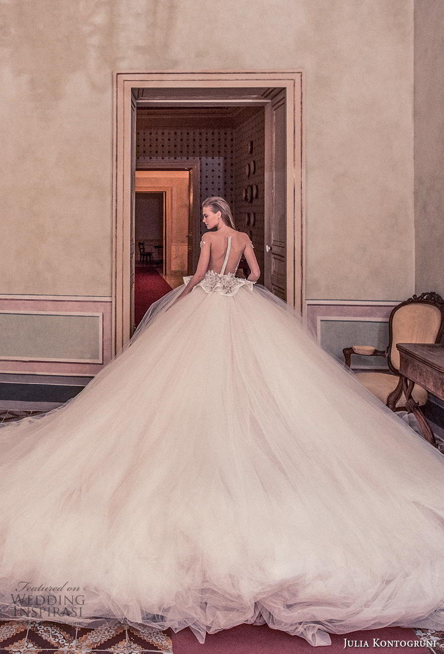 julia kontogruni 2019 bridal off the shoulder sweetheart neckline heavily embellised bodice peplum princess ball gown a  line wedding dress sheer button back royal train (3) bv
