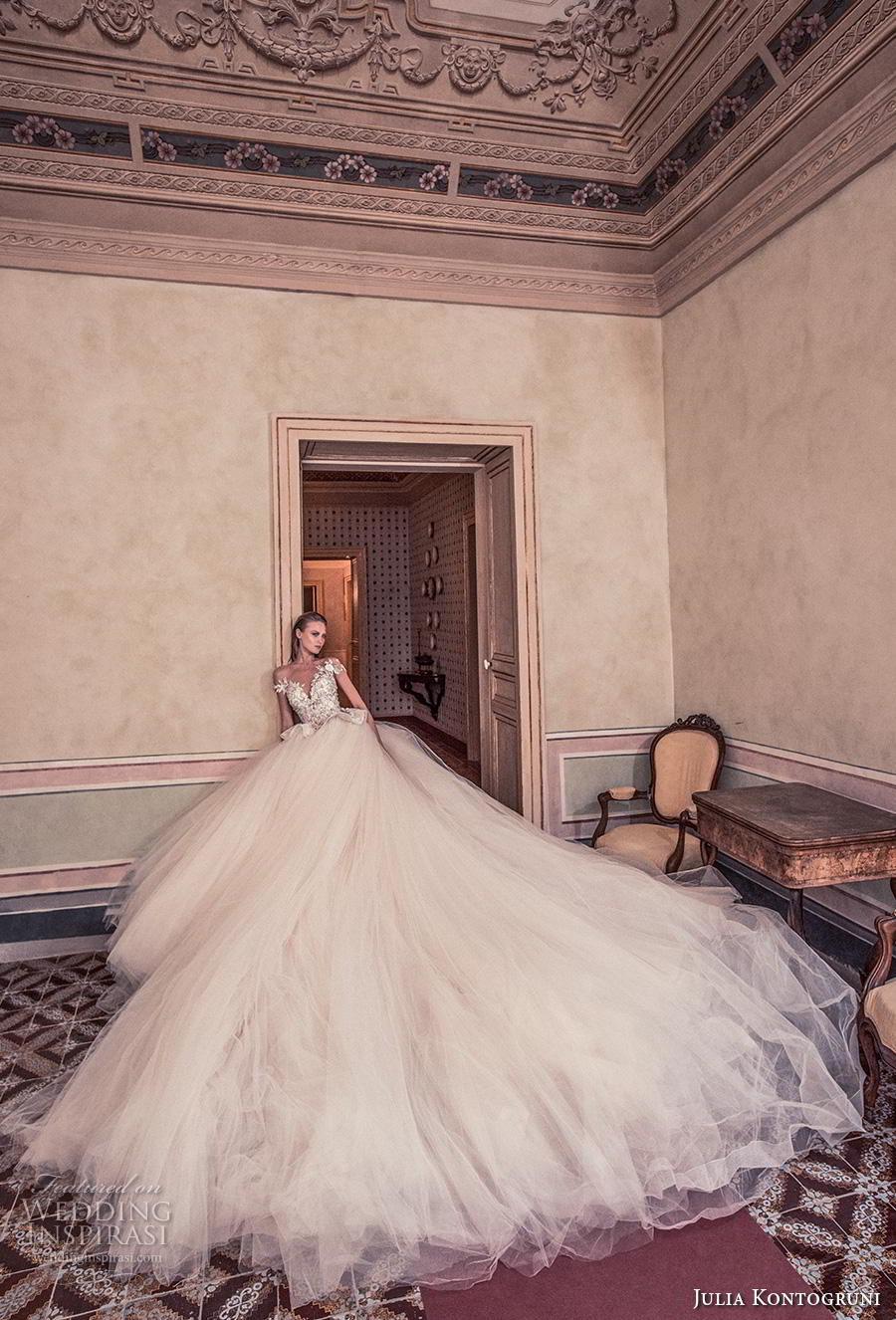 julia kontogruni 2019 bridal off the shoulder sweetheart neckline heavily embellised bodice peplum princess ball gown a  line wedding dress sheer button back royal train (3) mv