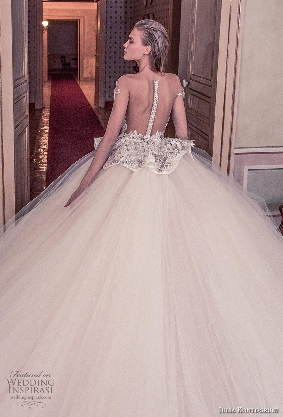 julia kontogruni 2019 bridal off the shoulder sweetheart neckline heavily embellised bodice peplum princess ball gown a  line wedding dress sheer button back royal train (3) zbv