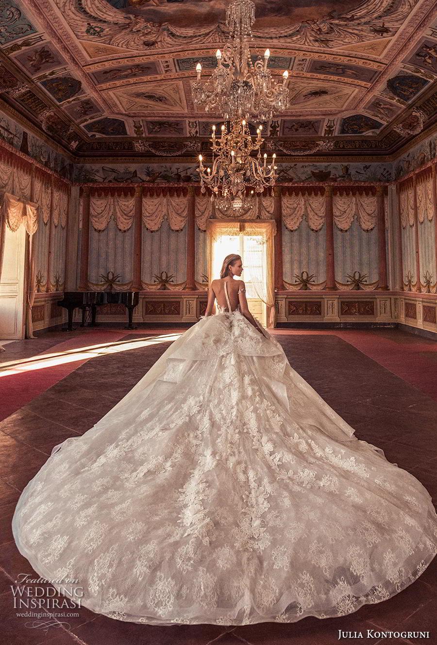 julia kontogruni 2019 bridal off the shoulder sweetheart neckline heavily embellished bodice princess ball gown a  line wedding dress sheer button back royal train (5) bv