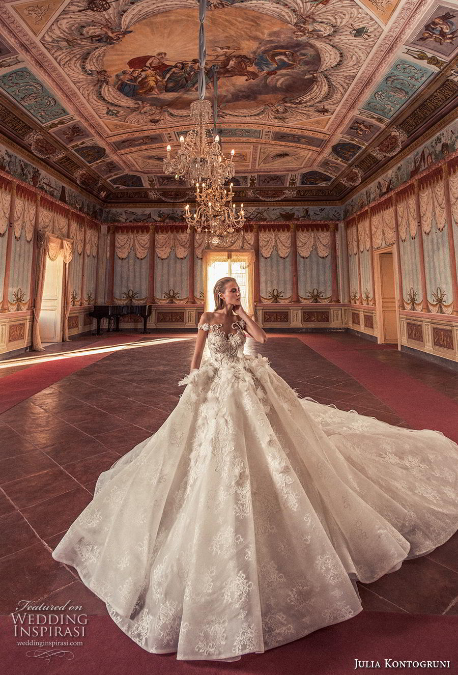 julia kontogruni 2019 bridal off the shoulder sweetheart neckline heavily embellished bodice princess ball gown a  line wedding dress sheer button back royal train (5) mv