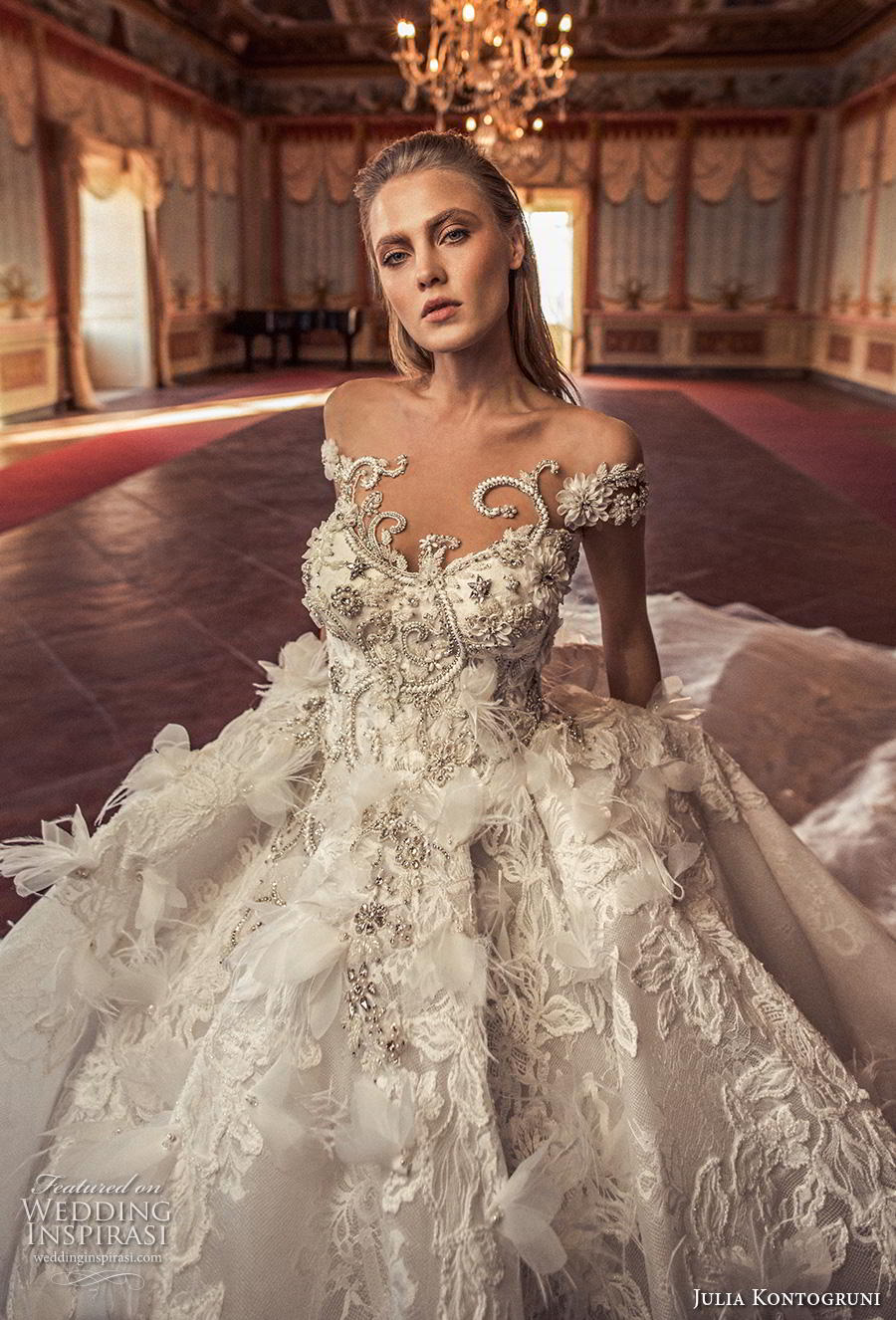 julia kontogruni 2019 bridal off the shoulder sweetheart neckline heavily embellished bodice princess ball gown a  line wedding dress sheer button back royal train (5) zv