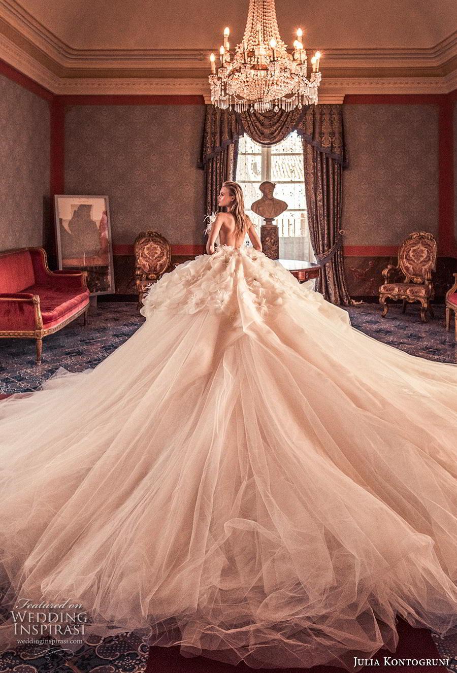 julia kontogruni 2019 bridal off the shoulder v neck heavily embellished bodice tulle skirt romantic princess a  line wedding dress backless  royal train (12) bv
