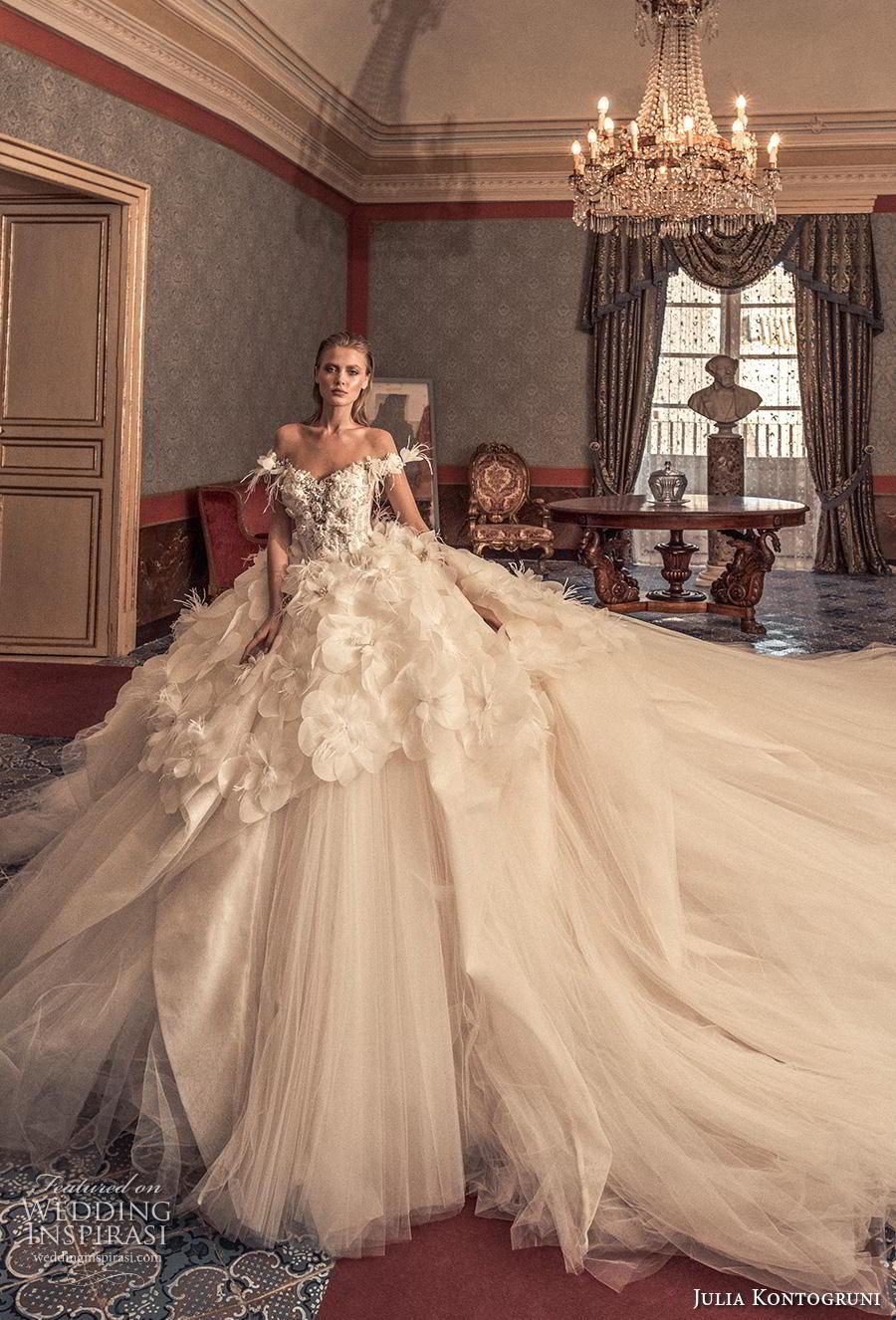 julia kontogruni 2019 bridal off the shoulder v neck heavily embellished bodice tulle skirt romantic princess a  line wedding dress backless  royal train (12) mv