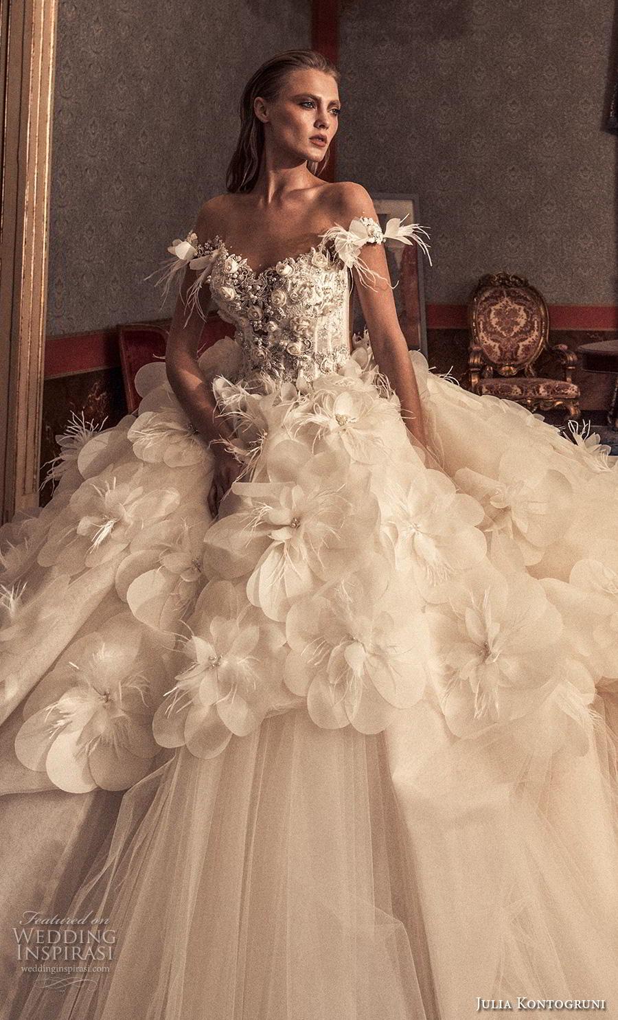 julia kontogruni 2019 bridal off the shoulder v neck heavily embellished bodice tulle skirt romantic princess a  line wedding dress backless  royal train (12) zv