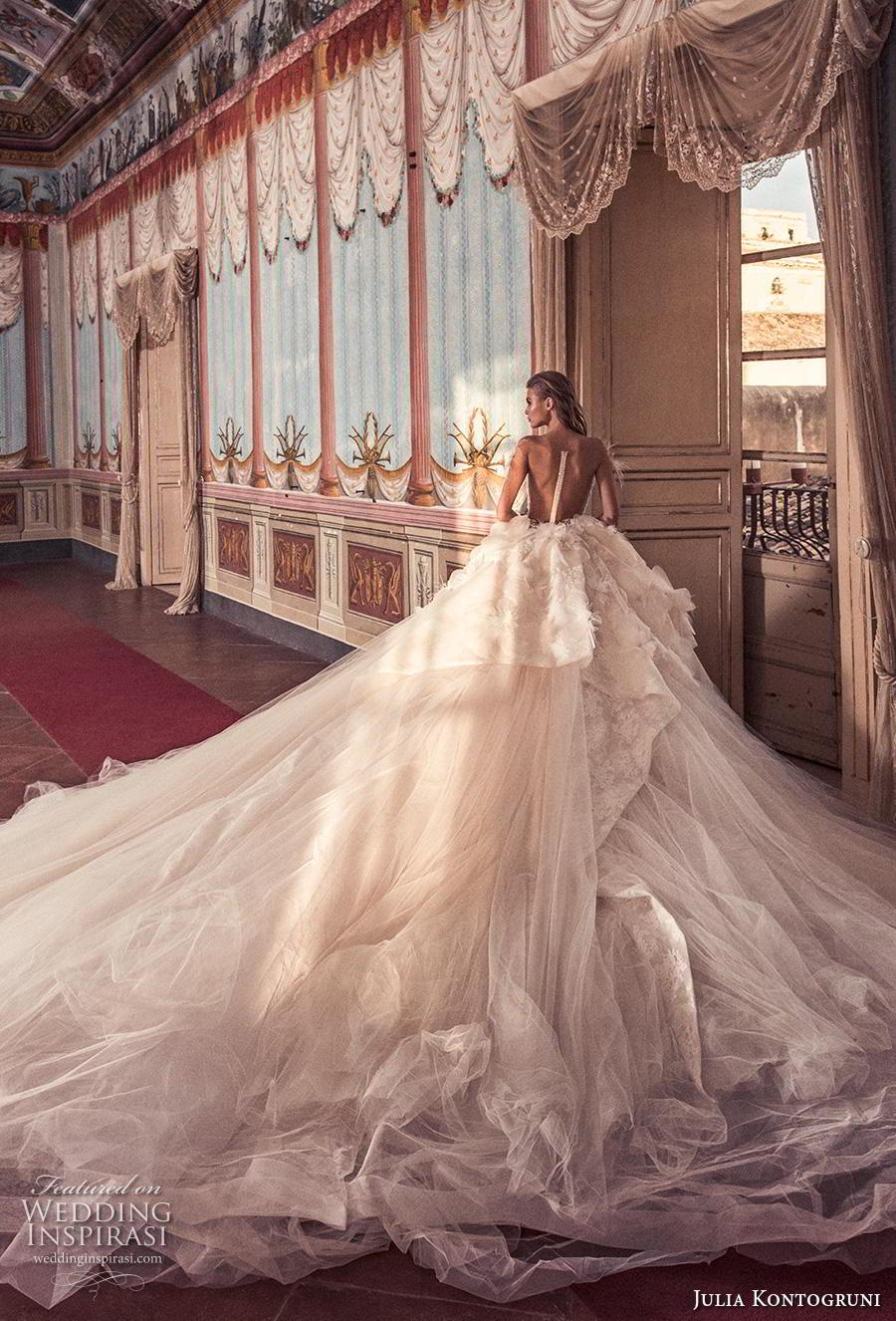 julia kontogruni 2019 bridal off the shoulder v neck heavily embellished bodice tulle skirt romantic princess a  line wedding dress sheer button back royal train (11) bv
