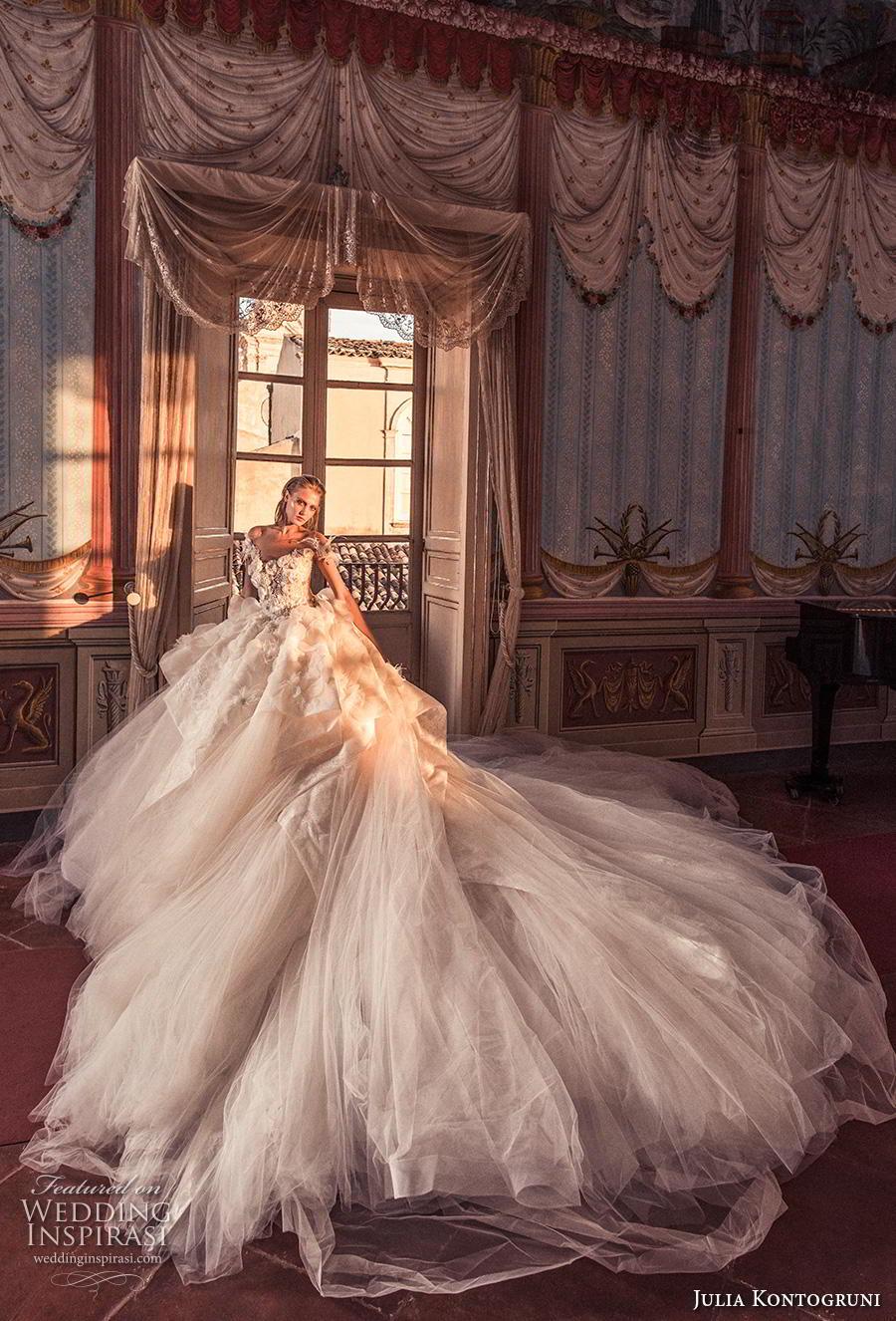julia kontogruni 2019 bridal off the shoulder v neck heavily embellished bodice tulle skirt romantic princess a  line wedding dress sheer button back royal train (11) mv