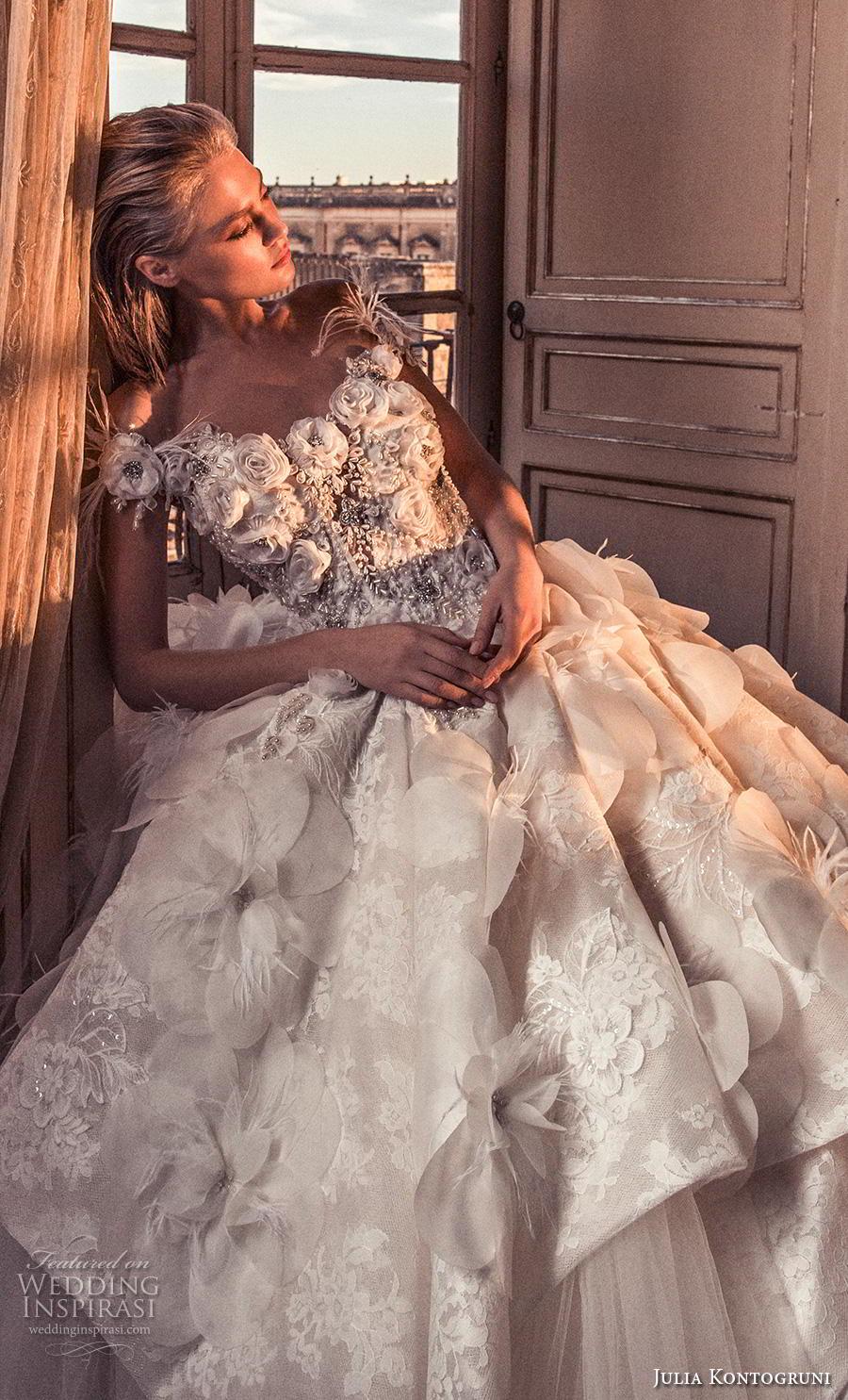 julia kontogruni 2019 bridal off the shoulder v neck heavily embellished bodice tulle skirt romantic princess a  line wedding dress sheer button back royal train (11) zv