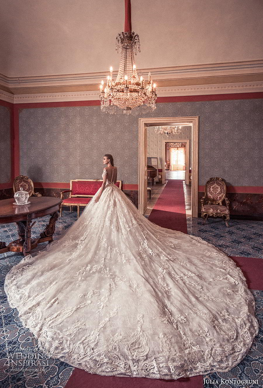 julia kontogruni 2019 bridal short sleeves sweetheart neckline full embellishment princess glamorous ball gown a  line wedding dress sheer button back royal train (4) bv