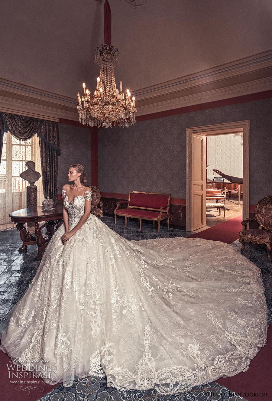 julia kontogruni 2019 bridal short sleeves sweetheart neckline full embellishment princess glamorous ball gown a  line wedding dress sheer button back royal train (4) mv
