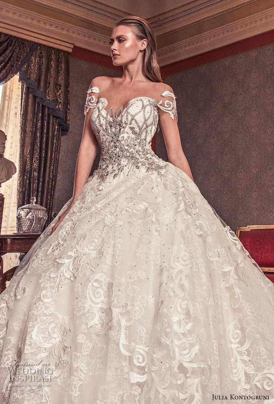 julia kontogruni 2019 bridal short sleeves sweetheart neckline full embellishment princess glamorous ball gown a  line wedding dress sheer button back royal train (4) zv