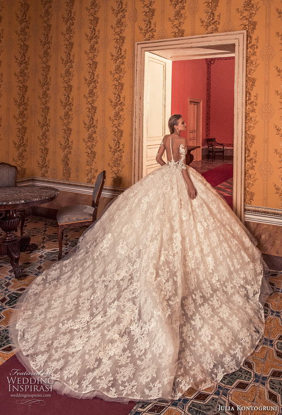 julia kontogruni 2019 bridal three quarter sleeves deep v neck full embellishment princess ball gown a  line wedding dress sheer button back royal train (7) bv