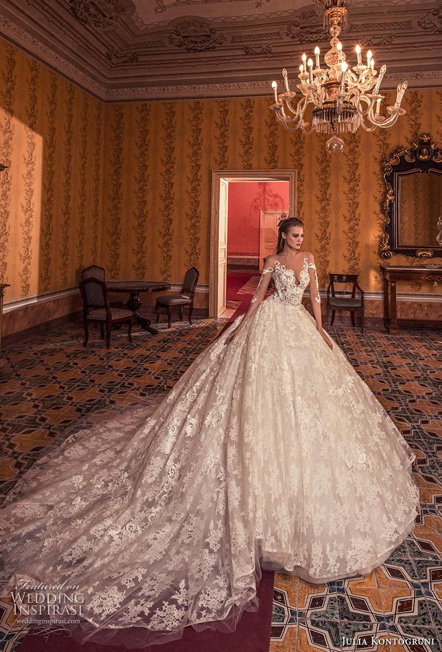 julia kontogruni 2019 bridal three quarter sleeves deep v neck full embellishment princess ball gown a  line wedding dress sheer button back royal train (7) mv