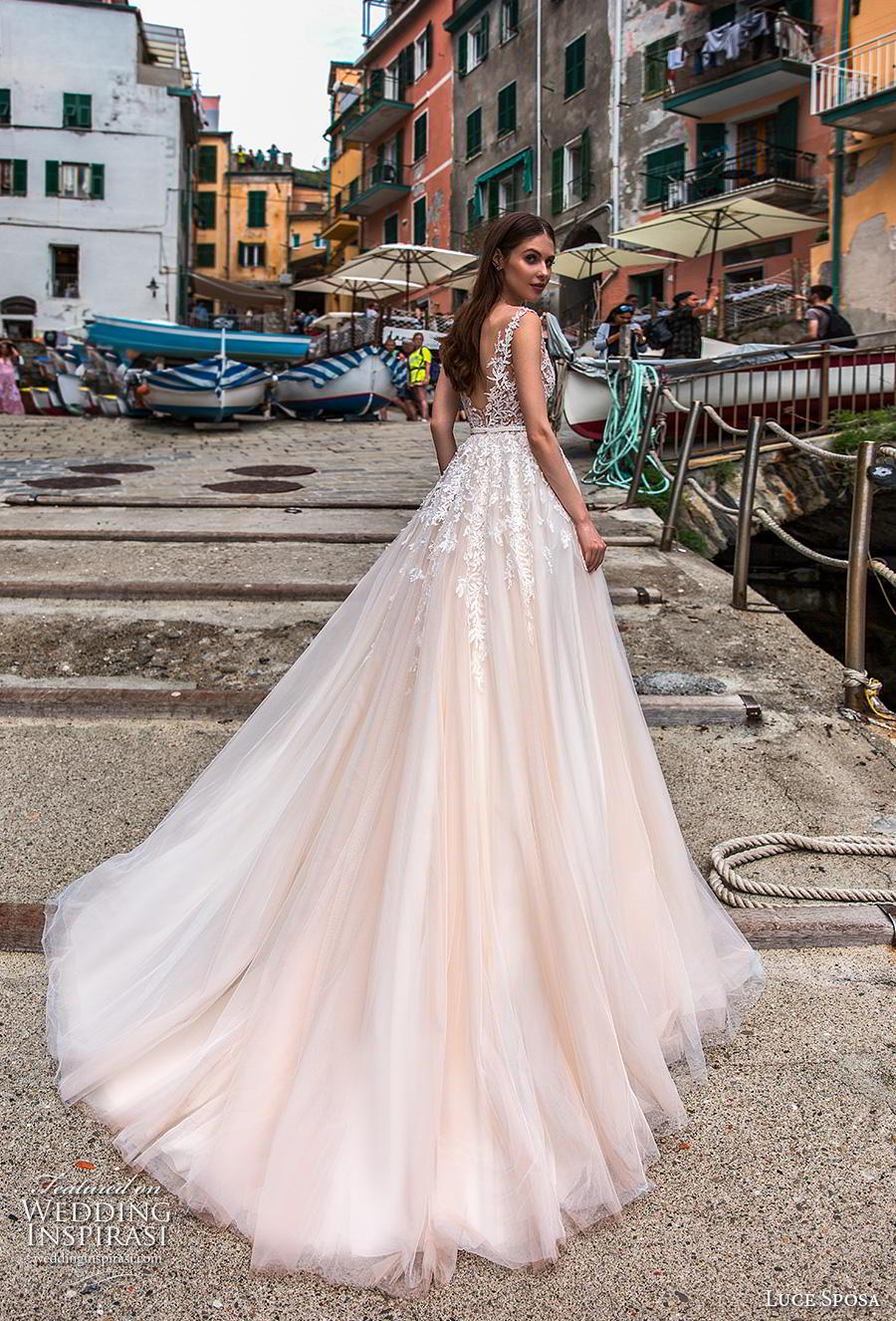 luce sposa 2019 bridal cap sleeves illusion bateau heavily embellished bodice romantic ivory a  line wedding dress backless v back chapel train (10) bv