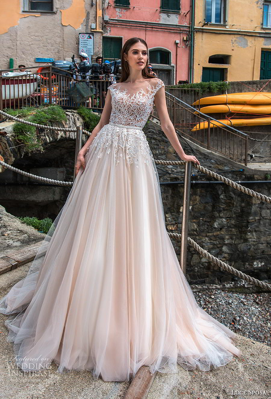 luce sposa 2019 bridal cap sleeves illusion bateau heavily embellished bodice romantic ivory a  line wedding dress backless v back chapel train (10) mv