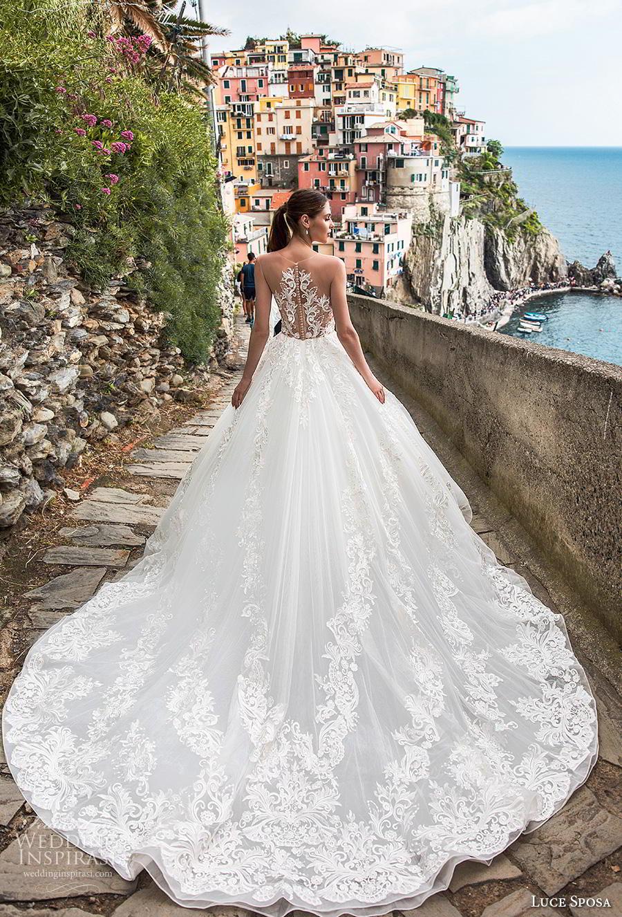 luce sposa 2019 bridal cap sleeves illusion jewel scoop neckline heavily embellished bodice romantic a  line wedding dress sheer lace back chapel train (7) bv