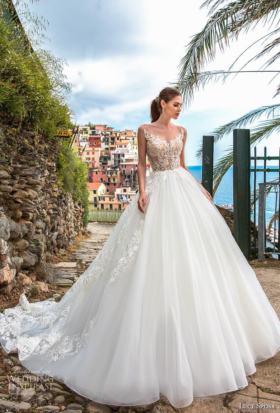 luce sposa 2019 bridal cap sleeves illusion jewel scoop neckline heavily embellished bodice romantic a  line wedding dress sheer lace back chapel train (7) mv
