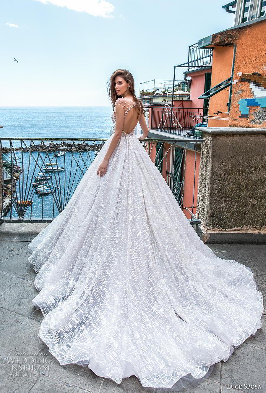 luce sposa 2019 bridal cap sleeves illusion jewel sweetheart neckline full embellishment romantic a  line wedding dress keyhole back chapel train (15) bv