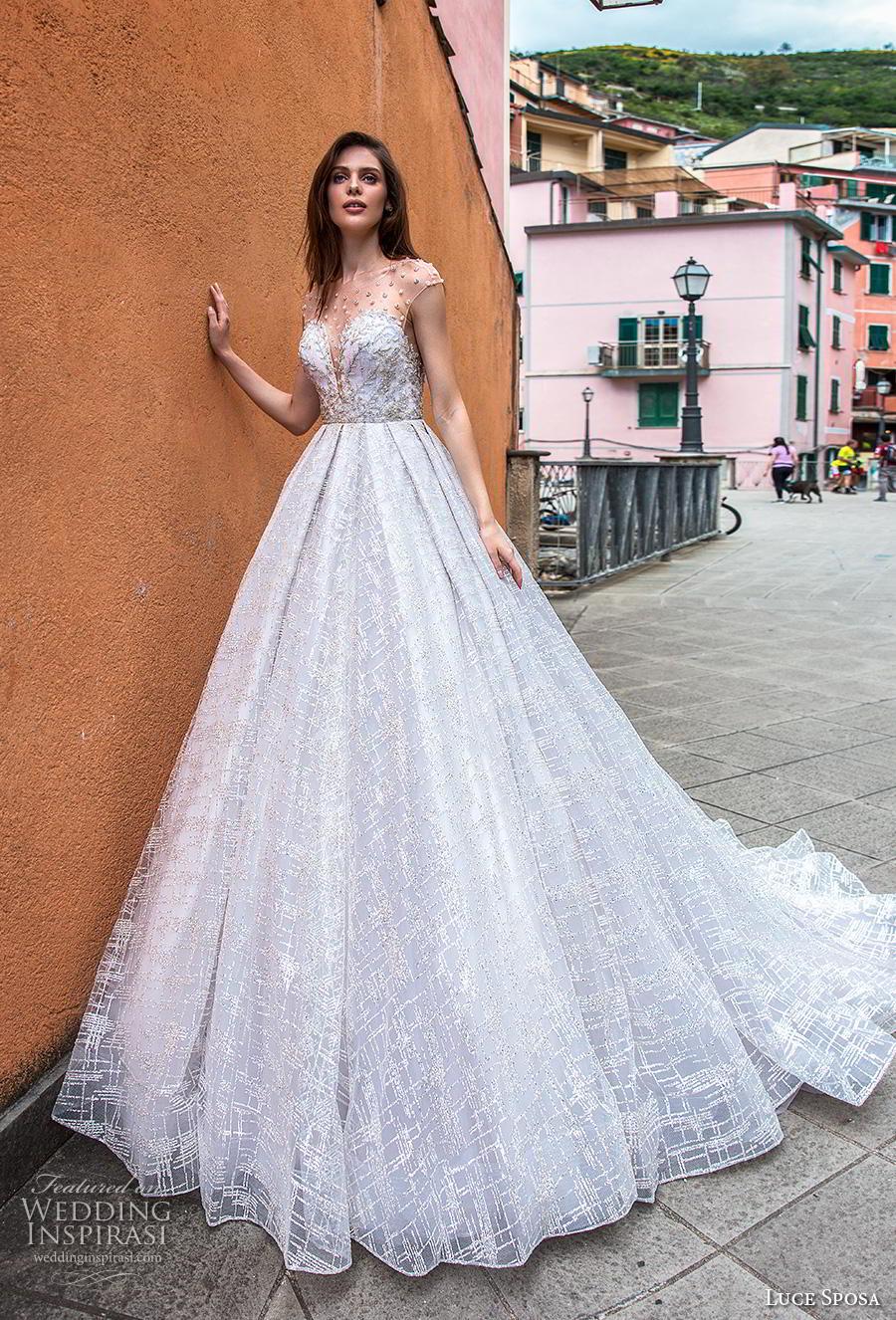 luce sposa 2019 bridal cap sleeves illusion jewel sweetheart neckline full embellishment romantic a  line wedding dress keyhole back chapel train (15) mv